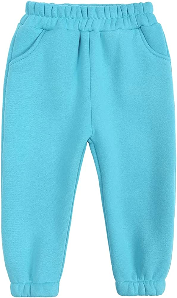 ZFTTZYMX Boys Girls Cotton Elastic Sweatpants Autumn Winter Brushed Fleece Cuffed Bottoms Solid Color Jogger Casual Pants