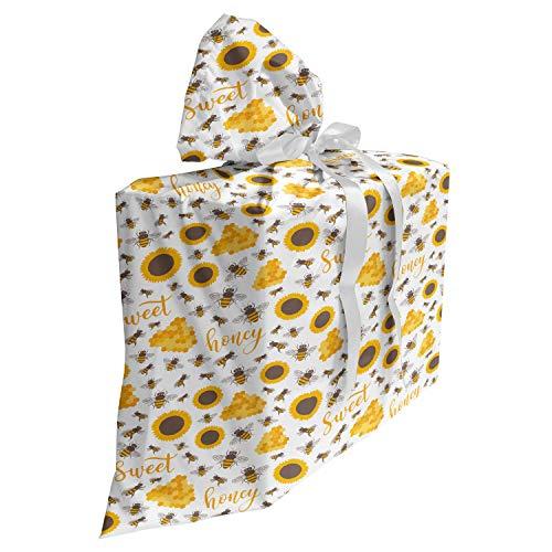 ABAKUHAUS Honingraat Cadeautas voor Baby Shower Feestje, Honing en tekst Bee, Herbruikbare Stoffen Tas met 3 Linten, 70 cm x 80 cm, umber Geel