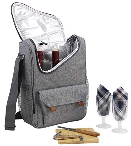 Wine Bottle Carrier 2 Bottle Capacity with Wine Glasses and Cheese Board Set | Highest Quality Wine Bag for Wine Lover Gifts and Picnic | Insulated Wine Tote Bag with Handle and Shoulder Strap
