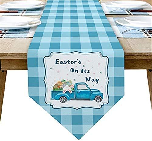 Chemin de table chemin de table de Pâques camion de ferme lapin oeuf de lapin Buffalo Plaid toile de jute chemin de table 90in de pour le dîner de fête d'anniversaire de banquet de vacances de ferme