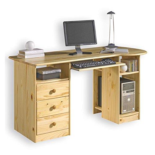 IDIMEX Schreibtisch BOB Computertisch PC-Schreibtisch, Kiefer massiv Natur lackiert mit Schubladen