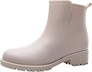 〓COOlCCI〓Rain Boots for Women,Low Heel Ankle Boots Waterproof Anti-Slip Chelsea Boots Garden Shoes Women's Rain Footwear