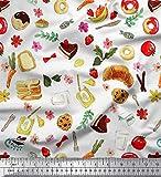 Soimoi Weiß Baumwolle Ente Stoff Obst, Brot und Krapfen
