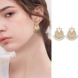 Doubnine Geometric Marble Earrings Gold Circle Modern Stud Earrings Art Deco Boho Statement Jewelry for Women Girls