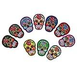 HEALLILY - 11 parches de hierro con diseño de calavera bordados para coser en parches, aplique Dia de Los Muertos México Día de los Faveurs del Partido Muerto