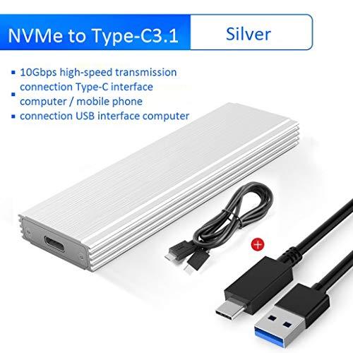 HWENJ Alloy NVMe M.2 SSD Case Enclosure USB3.1 Type-C Gen2 Transmisión De 10 Gbps PCIE Caja De Adaptador De Estado Sólido para Samsung Intel 2230 2242 2260 2280 Nvme SSD, Plateado