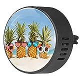 Eslifey Famiglia di divertenti ananas in occhiali da sole sulla spiaggia auto Diffusore deodorante per auto Air Freshener Vent Clip per auto ufficio casa bagno casa Ocean Breeze