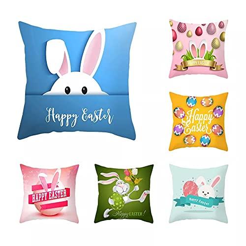 CSCZL YWZN Happy Easter Throw Pillow Case Creative Easter Bunny Egg Printing Poliéster Fundas de Almohada Decorativas Funda de Almohada kussensloop