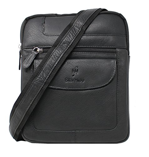 StarHide Mens Womens Soft Genuine Leather Travel Messenger Crossbody Pouch Bag for Ipad...
