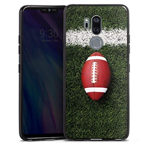 DeinDesign Silikon Hülle kompatibel mit LG G7 ThinQ Case schwarz Handyhülle American Football Sport Ball