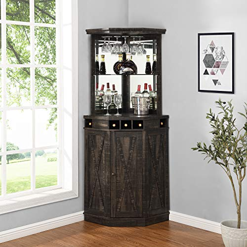 Home Source Charcoal Corner Bar Unit with Built-in Wine Rack and Lower Cabinet