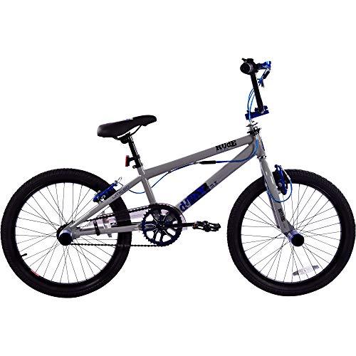 deTox Rude 20 Zoll BMX Fahrrad Bike Freestyle Street Park Rad Anfänger ab 140 cm 4 x Stahl Pegs 360° Rotor (Limited grau/blau)