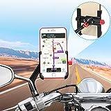 BTNEEU Soporte Móvil Moto Aluminio 360° Rotación Soporte Movil Scooter Soporte Telefono para Moto Motocicleta, Universal Soporte Smartphone Moto Retrovisor Compatible con Smartphones (4-6.8') (Negro)