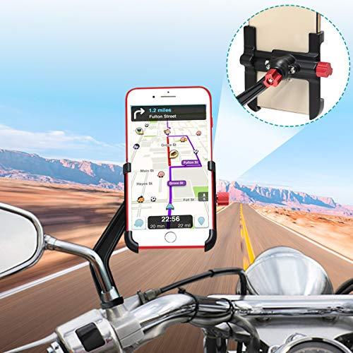 """BTNEEU Soporte Móvil Moto Aluminio 360° Rotación Soporte Movil Scooter Soporte Telefono para Moto Motocicleta, Universal Soporte Smartphone Moto Retrovisor Compatible con Smartphones (4-6.8"""") (Negro)"""