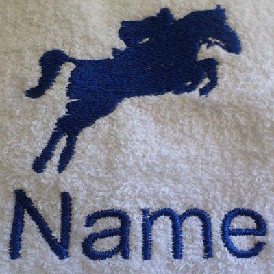 Toalla de mano, toalla de baño, baño (o) personalizado con Jockey caballo Logo y nombre de su elección, White, Black, Aqua, Cream, Chocolate, Navy Blue, Sky Blue, Bath Sheet 100x150cm
