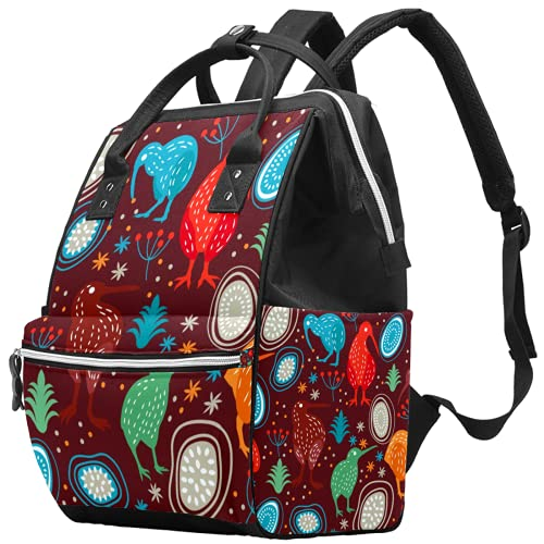 Mochila para portátil impermeable para pañales, bolsa de enfermería, bolsa de viaje, bolsa de viaje, multifunción, mochila de negocios, bolsa de médico, hortensias, flores, kiwi pájaro rojo animal