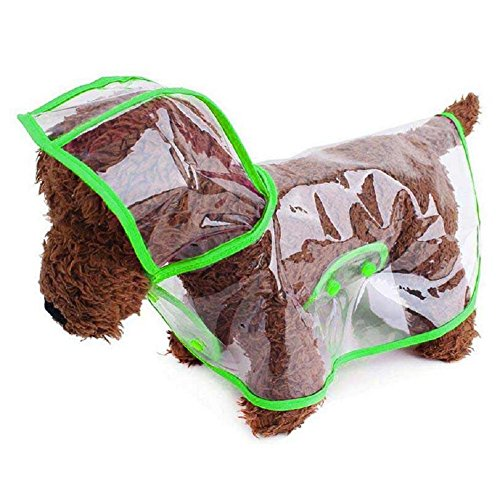Ducomi Dogalize - Impermeabile con Cappuccio in Nylon Trasparente per Cane - Cappottino Antipioggia Modello Poncho per Cani (Green, S)