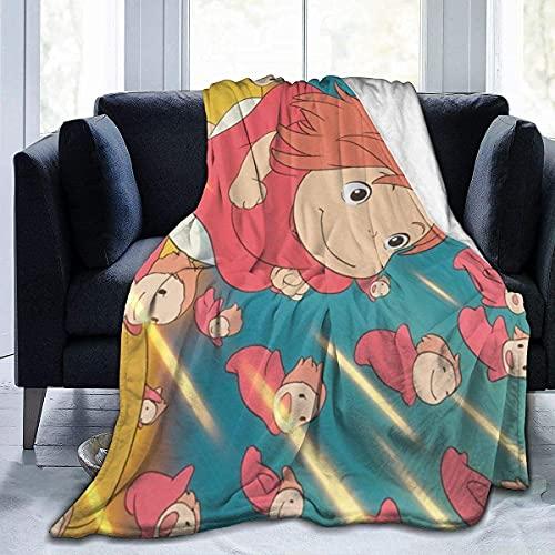 Ponyo Coperta morbida in peluche per tutte le stagioni, calda e leggera, da viaggio, termica, ponderata, per divano, letto, divano, per bambini, 127 x 101,6 cm, 152,4 x 127 cm