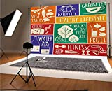 Fondo de vinilo para fotografía de 12 x 10 pies, collage de diferentes marcos de colores con signos motivacionales, vegetales, fondo de ejercicio para graduación, baile, decoración de fotomatón P