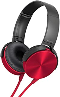 Perfk 3.5mm Over-Ear Headphones with Microphone, Hi-Fi Stereo Foldable Headset for Laptop Mobile Phone Tablets - Red
