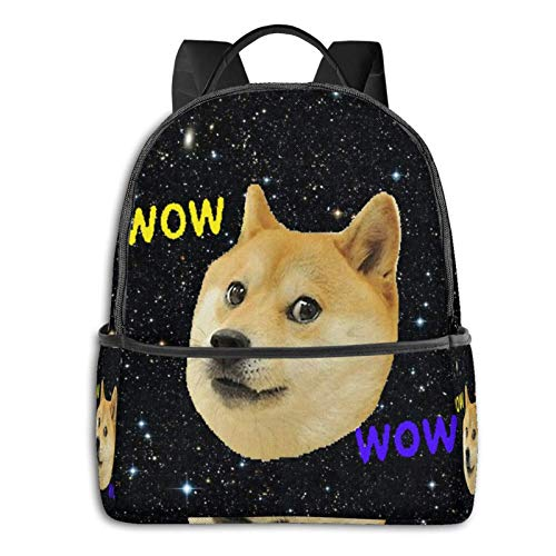 Doge-Wow Fashion Backpack Travel Laptop Bag Waterproof Backpacks for Hiking School Bookbag Black