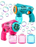 2 Bubble Guns for Kids, Bubble Machine Automatic Bubble Blower with Bubble Solution, HOPOCO Bubble Maker for Bubble Blaster Party Favors, Birthday Gift, Easter Outdoors Activity for Boy & Girl