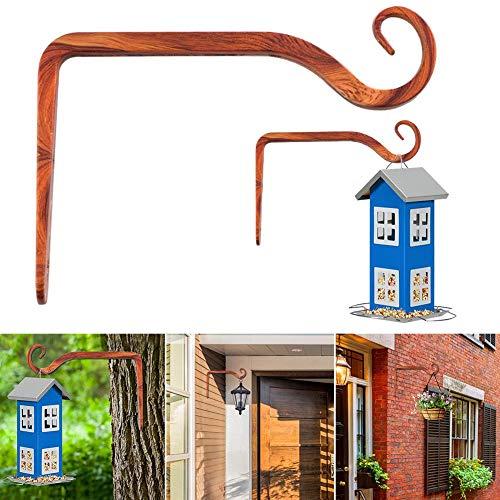 Envisioni Crochets muraux en fer forgé, supports de panier à suspendre pour jardin, mangeoires, lanternes, carillons, décoration d'intérieur