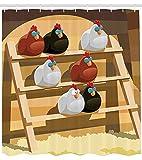 wobuzhidaoshamingzi Cortina de Ducha de Pollo, Grupo de gallinas durmiendo en la Percha en la Granja Doodle Colorido diseño estilizado, Tela 105 'Extra Ancho