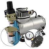 AEROGRAFO COMPRESOR'Compact II' ideal para principiantes como para avanzados, Presión ajustable, MANÓMETRO, separador de agua, PREFILTRO, apagado automático.