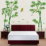 Wallpark Grande Verde Bambú Bosque Pájaro Desmontable Pegatinas de Pared Etiqueta de la Pared, Sala Dormitorio Hogar Decorativas Adhesivas DIY Arte Murales