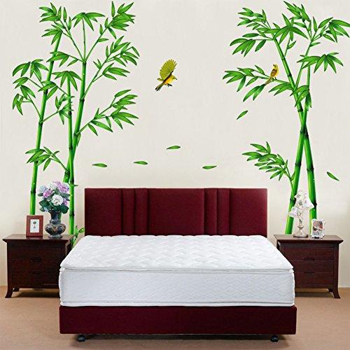 Wallpark Groß Grün Bambus Wald Vogel Abnehmbare Wandsticker Wandtattoo, Wohnzimmer Schlafzimmer Haus Dekoration Klebstoff DIY Kunst Wandaufkleber
