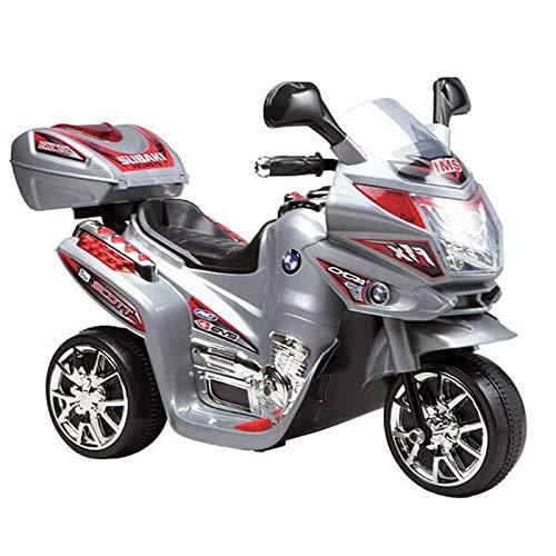 Kinder Elektromotorrad 6V C051 12 W Motor bis 3 km/h mit Musik und Licht grau
