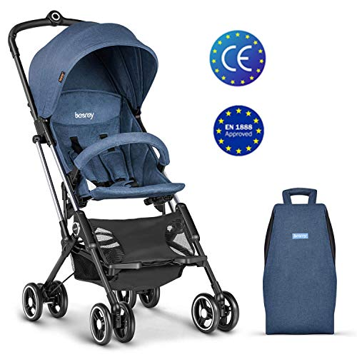Besrey Passeggino da Aereo Passeggino Compatto e Leggero Passeggino Pieghevole, per Bambini da 6-36 Mesi, Blu