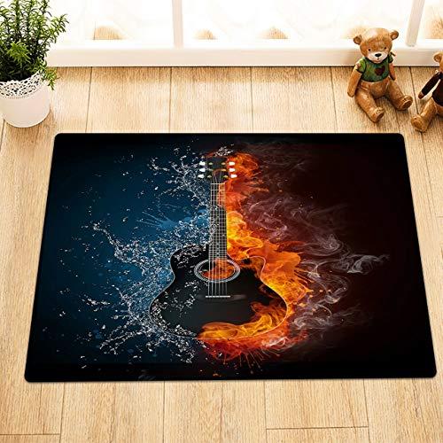 taquxinlaowan Musikinstrument-Gitarre mit Feuer-Polyester-Gewebe-Duschvorhang-Badezimmer-Set