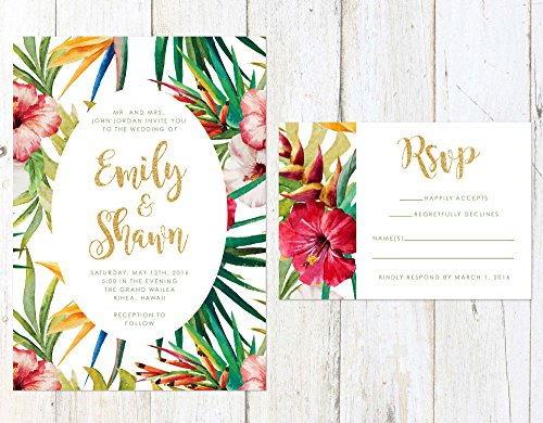 Tropical Wedding Invitation, Destination Wedding Invitation, Unique Tropical Wedding Invite