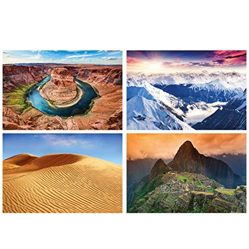 GREAT ART® juego de 4 motivos de carteles | Din A2 - 42 x 59,4 | Paisajes | Curva de herradura Alpes Panorama Desiertos Machu Piccu Montañas | Cuadros para niños decoración póster