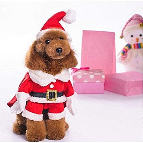 Hotumn Pet Christmas Costumes Dog Suit with Cap Santa Claus Suit Dog Winter Hoodies Cat Xmas Costumes (M)
