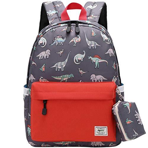Mygreen Kinderrucksäcke Dinosaurier-Schulranzen Wasserdichter Rucksack für Mädchen und Jungen modisch Büchertasche für Schülerinnen Teenager Tagesrucksack Orange Rot mit Münzgeldbeutel