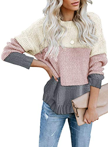 Lovezesent Womens Causal Crewneck Long Sleeve Color Block Knit Jumper Winter Warm Soft Striped Pullover Sweater Tops Gray 1 Medium