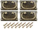 Tiradores de cajón vintage de latón envejecido, asas rectangulares para armarios y cajones, aleación de zinc (95 x 52 mm), 4 unidades