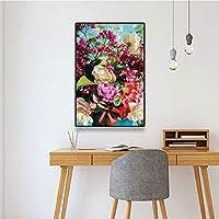 キャンバスペインティング カラフルな花のポスターとプリント花の壁の芸術現代のキャンバス絵画アート写真リビングルームの寝室の家の装飾 50x75cm