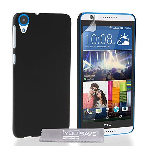 Yousave Accessories Kompatibel Für HTC Desire 820 Hülle Schwarz Hart Hybride Schutzhülle