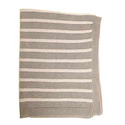 Zippy Baby Wendedecke grau-weiß gestreift für Babybett und Kinderwagen, gestrickte gekämmte 100% Baumwolle, perfektes Geschenk