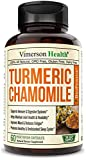 Turmeric Chamomile Sleep Support Supplement with Ginger, Cinnamon and Bioperine. Promotes Healthy Sleep Cycle, Digestive Health and Gut Flora, Natural Mood Balance for Occasional Stress Relief