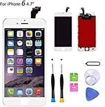 Compatible with iPhone 6 Screen Replacement (4.7 inch Black), LCD Digitizer Touch Screen Assembly Set with Touch Function, Repair Tools and Professional Replacement Manual Included (White)