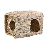 MINGZE Folding Straw House, Rabbit Grass House, para Rabbit Guinea Chinchilla Hurón, Multi-Utilidad, Comestible, No tóxico, Chew Toy para Animales pequeños