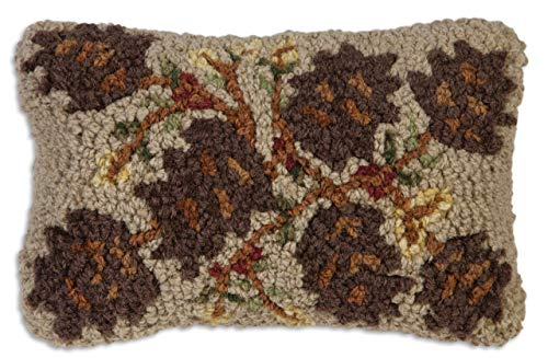 "Chandler 4 Corners Artist-Designed Khaki Pinecones Hand-Hooked Wool Decorative Petite Throw Pillow (8"" x 12"")"