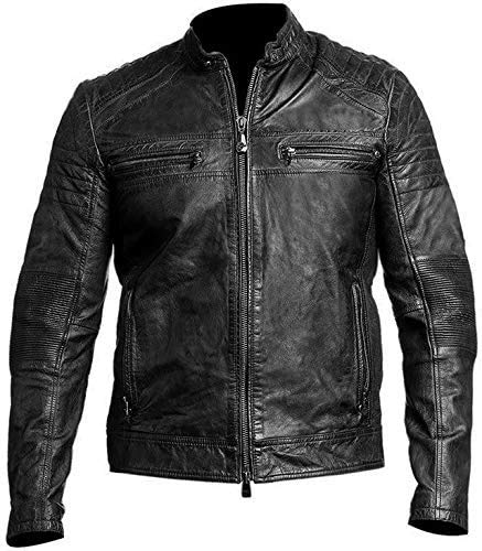 HiFacon Vintage Biker Motorcycle Cafe Racer - Chaqueta de piel auténtica para hombre, color negro y marrón