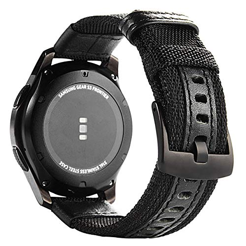 LINMAN Correa para Galaxy Watch 3 46mm Banda Gear S3 Frontier Classic Nylon 22mm 20mm Watchwoven Nylon Band para 20mm 22mm Muñeca (Band Color : Black, tamaño : 22mm)