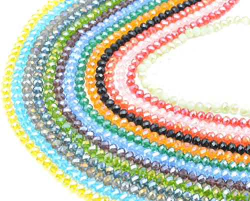Catotrem 8mm Briollete Rondelle Crystal Glass Beads Faceted Crystal Beads for Jewelry Making Assorted Color(1020pcs)